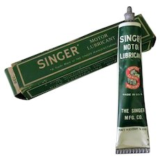 Vintage Singer Sewing Machine Motor Lubricant Grease Tube with Box