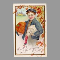 Embossed Vintage Thanksgiving Postcard - Young Boy, Pumpking & Turkey