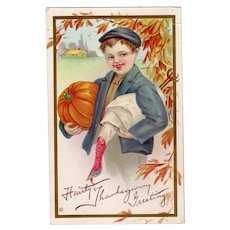 Embossed Vintage Thanksgiving Postcard - Young Boy, Pumpking & Turkey