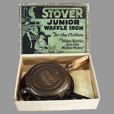 Child's Vintage Cast Iron Waffle Iron with the Original Box - Stover Junior