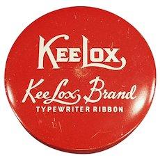 Vintage KeeLox Brand Typewriter Ribbon Tin - Red