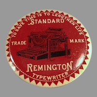 Vintage Remington Typewriter Advertising - Celluloid Mirror Paperweight