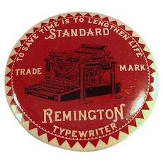 Vintage Remington Typewriter Advertising - Celluloid Mirror Paperweight