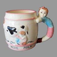 Child's Vintage Milk Mug – Drink More Milk Cup with Cow & Figural Handle