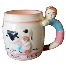 Child's Vintage Milk Mug – Drink More Milk Cup with Cow & Figural Handle