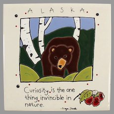 Decorative Tile with Brown Bear - Freya Stark Ceramic Art Tile Souvenir