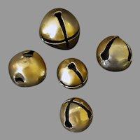 Vintage Christmas Jingle Bells – Five Large Gold Bells