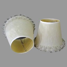 Pair of Vintage, Clamp-On Lamp Shades – Fabric Over Plastic with Ruffled Edge