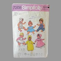 "Vintage Simplicity #7208 Baby Doll Clothes Pattern for 13"" -14"" Dolls"