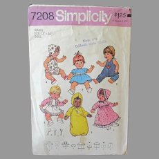 """Vintage Simplicity #7208 Baby Doll Clothes Pattern for 13"""" -14"""" Dolls"""