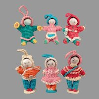 Group of Six Vintage Miniature Crocheted Dolls - Very Cute & Colorful