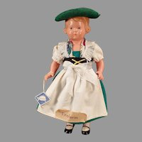 Vintage Rheinische Gummi Celluloid Doll with Original Tyrolean Outfit - Turtle Ta