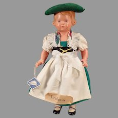 Vintage Rheinische Gummi Celluloid Doll with Original Tyrolean Outfit - Turtle Ta