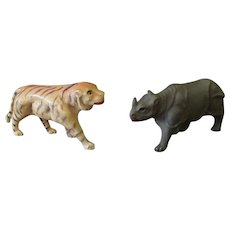 Vintage Miniature Celluloid Toys Made in USA – Tiger and Rhinoceros Figures