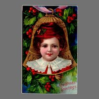 Beautiful Vintage Christmas Postcard with Vivid Colors and Young Child
