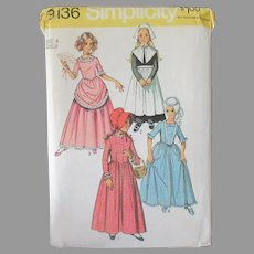 Vintage Simplicity #9136 Girl's Pattern - Size 4 Puritan, Centennial and Other Costume Dresses
