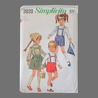 Vintage Simplicity #8020 Child Pattern – Darling Tyrolean Outfits - Vintage Size 4