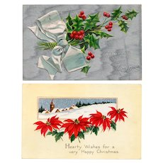 Two Vintage Christmas Postcards with Holiday Flowers, Poinsettia & Holly