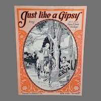 Vintage Sheet Music – Like a Gipsy - Nice Graphics with a Wandering Gypsy