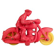 Vintage Auburn Rubber Toy - Small Motorcycle with Rider