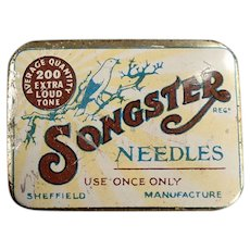 Vintage Songster Phonograph Needle Tin with Nice Bird Graphics