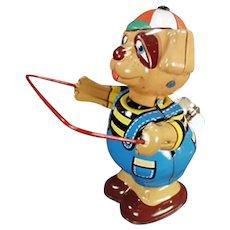 Vintage Skip Rope Tin Dog Wind-up - Colorful Shelf Toy