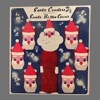 Vintage Christmas Santa Claus Coasters - 6 Highball Socks with Original Box