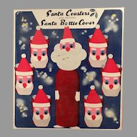 Vintage Christmas Santa Claus Coasters - 6 Highball Socks with Original Box