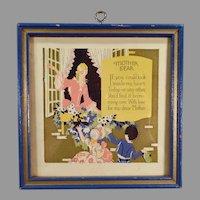 Little Vintage Motto Print - Mother Dear Poem and Colorful Image - Blue Frame