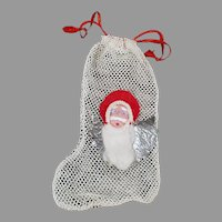 Vintage Net Christmas Stocking Ornament/Candy Container with Santa Claus Face