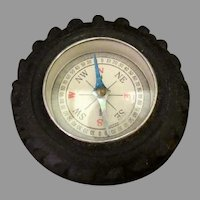 Vintage Toy Compass in Little Automotive Tire - Fun Little Stocking Stuffer