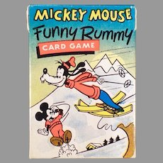 Vintage Mickey Mouse Funny Rummy Card Game with Colorful Disney Characters, Original Box