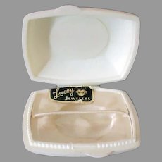 Small Vintage Ring Box – White Plastic, Flat Box for a Gold Band
