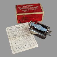 Vintage Kanner's Dubeledge Razor Blade Stropper Sharpener with Original Box 1918
