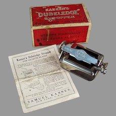 Vintage Kanner's Dubeledge Razor Blade Stropper Sharpener with Original Box 1918