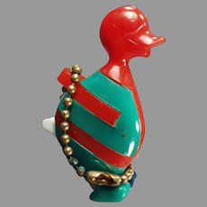 Vintage Dexterity Puzzle Key Chain - Colorful Plastic Comical Duck