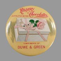 Vintage Celluloid Pocket Mirror - Early 1900's Rosary Chocolate Candies Advertising