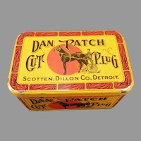 Vintage Tobacco Tin - Dan Patch Cut Plug with Nice Colorful Horse Graphics Advertising