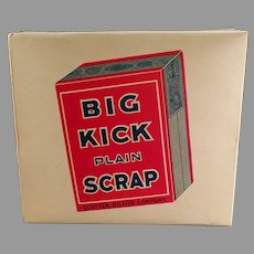 Vintage Tobacco Display Box - Big Kick Plain Scrap Tobacco Cardboard Box