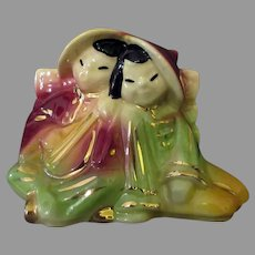 Vintage Shawnee Pottery - Colorful Oriental Boy and Girl Planter