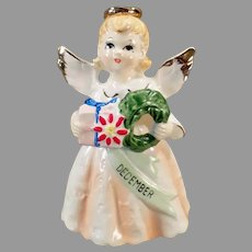 Vintage December Birthday Angel with Christmas Present & Wreath - 1950's-1960's
