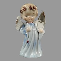 Small Vintage Porcelain Angel Figure - Little Angel in Blue Carrying a Heart