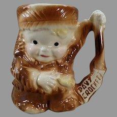 Vintage Davy Crockett Ceramic Milk Mug by Brush Pottery - 1950's