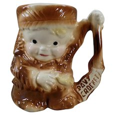 Vintage Davy Crockett Ceramic Milk Mug by Brush Pottery - 1950's