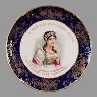 Beautiful Vintage Knights Templar Souvenir Portrait Plate with Josephine - 1901 Knowles