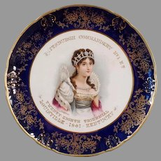 Beautiful Vintage Knights Templar Souvenir Portrait Plate with Josephine - 1901 Knowles