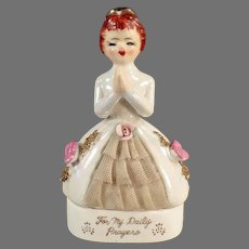 Vintage Porcelain Rosary Bead Dresser Jar with Paying Woman - For My Daily Prayers