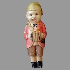 Vintage Miniature Celluloid Rattle Toy – Little Boy with Accordion