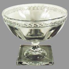 Vintage Greek Key Pressed Glass Sherbet Dish