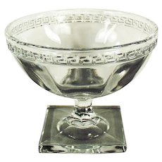 Vintage Greek Key Pressed Glass Sherbet Dish